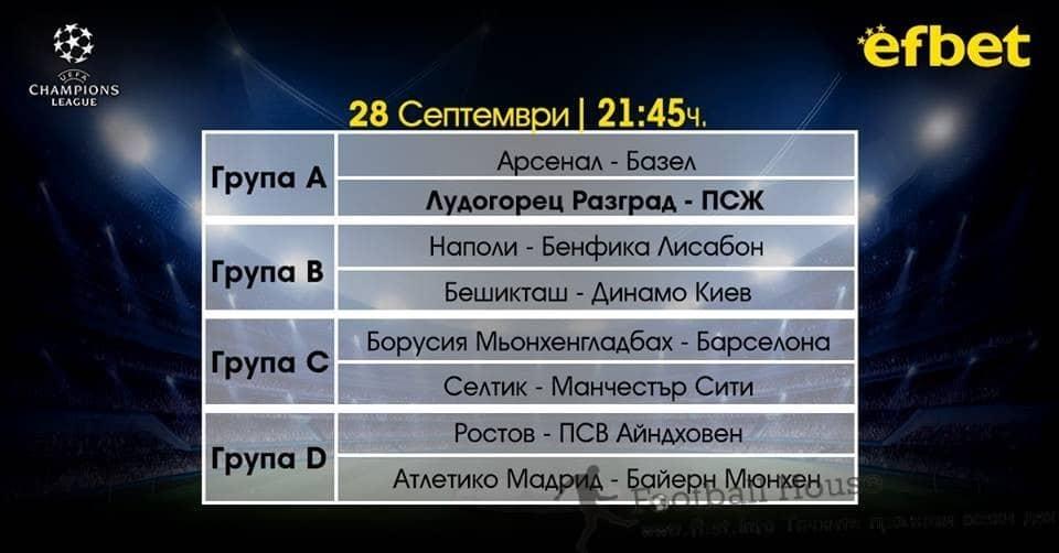 Шампионска лига: 28.09.2016